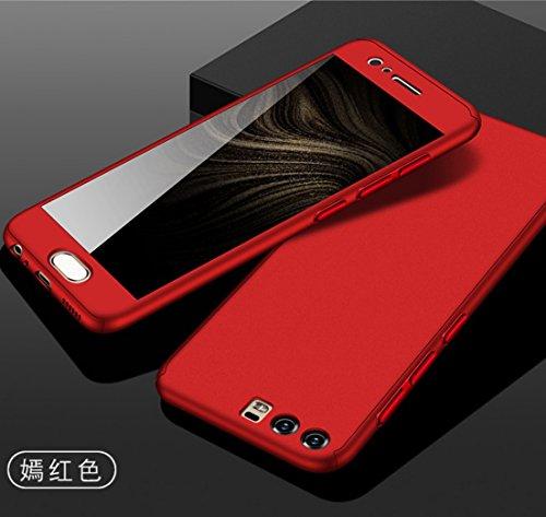 Huawei GX8 Armor Funda, 360° Full Edge Combined Awesome Ultra Hybrid Carcasa With Glass, TAITOU Cool Ultralight Slim Anti-Drop Phone Funda For Huawei GX8 Red