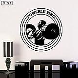 xingbuxin Adesivo murale Palestra Fitness Man Pattern Adesivi murali Powerlifting Logo Decorazione per Finestra Sport Creativo Rimovibile Decalcomanie Fai da Te Nero 42x42cm