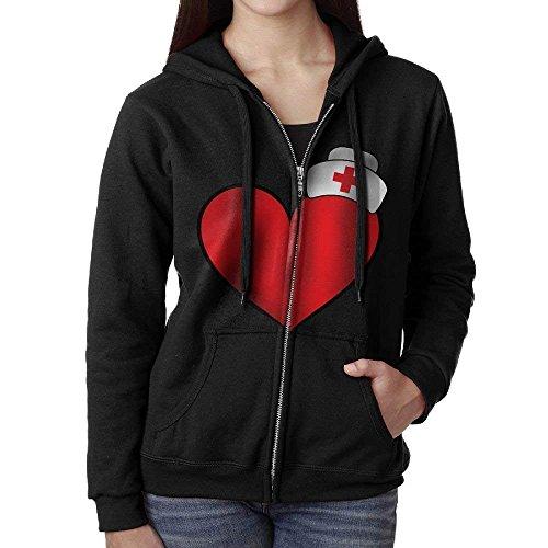 Nurse Cap On Heart Hooded Sweatshirt Full Zip Hoodie with Pocket for Women Hydro Zip Hoodie