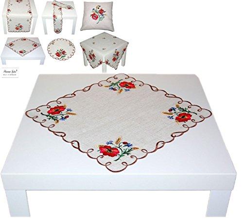 Tischdecke Plauener Spitze® Deckchen 40x40 cm eckig Mohnblumen Tischläufer HalbLEINEN Landhaus rustikal Sommer Herbst (Deckchen eckig 40x40 cm)