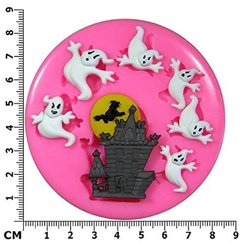 Maison hantée Halloween & Ghost Moule en Silicone pour décoration de gâteau/Cupcake Toppers Décoration de gâteaux glaçage pâte à sucre Par les fées Blessings outil
