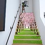 Treppen Aufkleber Haus Renovieren Kirschbaum Ansichten Straße Treppen Mode Kreativ Treppen Dekor Wandsticker,100*18cm*13pcs