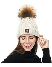 Amazon.it  cappello lana con pon pon - Beige   Cappelli e cappellini ... 1dbf0f87ec18