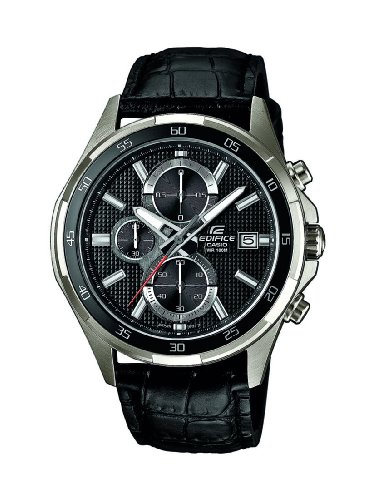 Casio Herren-Armbanduhr XL Edifice Analog Quarz Leder EFR-531L-1AVUEF