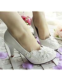 JINGXINSTORE Zapato de novia de la boda de la princesa blanca Cordón de la tarde de Mary de tacón alto, UK5, 8.5CM...