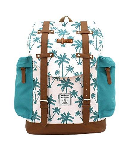 F|23, Urban Survival Rucksack, BxTxH: 31x17x42 cm, Inkl. 2 Seitentaschen, 22 Liter, Palm, Weiß/Türkis, 30022-7