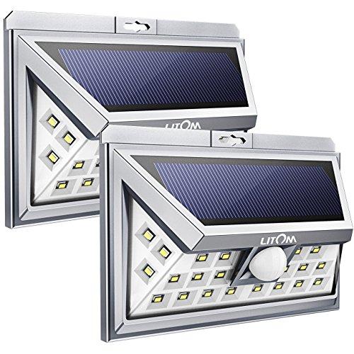 Solar-power-lampen (Litom 24 LED Außen Solar Power Lampe, Weitwinkel Design Wireless Motion Sensor Solar Licht Wasserdicht Sicherheit Lampe mit 3 LEDs Beide Seiten für Garten, Patio, Deck, Hof, Auffahrt(2 Stücke))