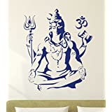 Decals Design 'Lord Shiva Om Meditating Wall Sticker For Home' (PVC Vinyl, 50X70cm, Blue)