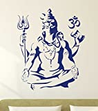 #9: Decal Design 'Lord Shiva Om Meditating Wall Sticker for Home' (PVC Vinyl, 50x70cm, Blue)