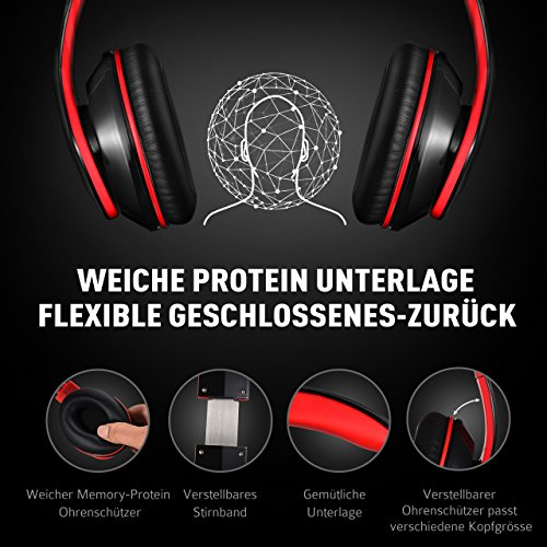 Mpow Over Ear Bluetooth Headphones, Foldable Headphones Stereo Wireless Headsets Ergonomic Designed with Soft Earmuffs, Built-in Mic for Mobile Phone TV PC Laptop (13 Hrs Playing Time, Storage Bag Included, Black & Red)