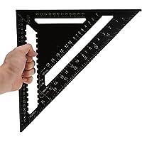Équerre Triangle Règle d'Angle Rapporteur Outil de Mesure en Alliage d'Aluminium de Haute Précision 12 Pouces, Noir