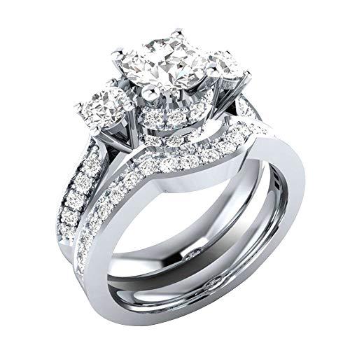 Silber Ton Valentine Lieben Paar Paare Hochzeit Verlobungsringe Verlobung Damen, 2-in-1 Fashion Lady Zirkonia Ring Creative Set Ring Zubehör, Silber, 9# (Valentine Outfits Paar)