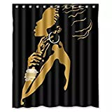 "Bathroom Shower Curtain,Sainagce Custom A Thinking Women Pattern Merry Christmas Fabric Waterproof Bathroom Shower Curtain 66"" x 72"" Black with 12 Hooks"