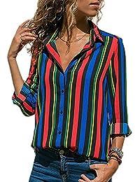 Avanon S-5XL Streifen Bluse Damen Oberteile Chiffon Elegante Herbst  Langarmshirts V-Ausschnitt Knöpfe Shirts… bea6a5cd8b