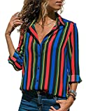 Minetom Streifen Bluse Damen Hemd Gestreift Oberteile V-Ausschnitt Lose Casual Chiffon Langarm T-Shirt Top Tunika Elegant Langarmshirt Schlank Blusen C Bunt DE 36