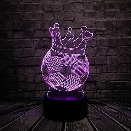 Kreativer Fußball-Kaiserkrone-Thron 3D Führte Usb-Lampen-Ersten Preis-Sportliches Jungen-Geschenk Für Fußball-Spieler-Buntes Birnen-Licht (Für Halloween Fußball-spieler)