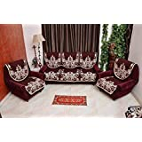 KK Home Store Decor Exclusive Royal Look Velvet Sofa Cover Set with Heavy Fabric 500 TC Floral Design 5 Seater Sofa Cover -|