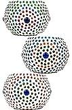 6er Set Orientalisches Mosaik Windlicht Ajan 9 cm groß Bunt   Orientalische Glas Teelichthalter orientalisch   Marokkanische Windlichter aus Glas als Dekoration   6 Stück - 2