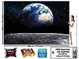 Poster fotografico Pianeta Terra Decorazione per pareti Mondo Earth Luna Galaxy Universo Spazio Cosmo Space Globo Terrestre Stelle Moon I Fotomurales by GREAT ART (336 x 238 cm)