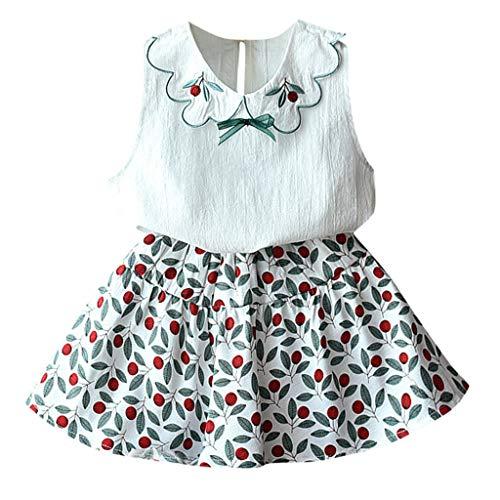 zessin Kleid - Baby Kinder Mädchen ärmellose Rüschen Tops Floral Rock Princess Outfits ()
