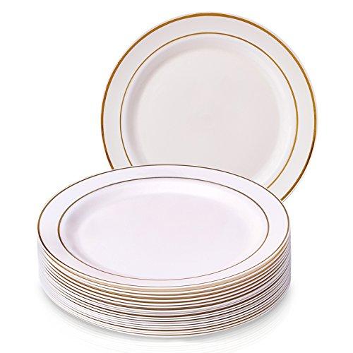 Goldene Schein Collection Elegante China Einweg, rund, elfenbeinfarben mit Gold Bordüre Teller Geschirr Set für Hochzeit, Partys und Events–Schwere Kunststoff Speisetellern (20Stück) (Gold-kunststoff-platten-ladegerät)