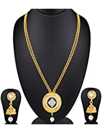 Spargz Gold & Green Brass Necklace Set For Women