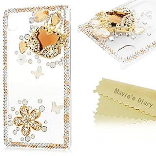 Mavis's Diary Sony Xperia M4 Aqua Case - 3D Handmade Bling Crystal Fashion Cute Bag with Shiny Diamonds Flowers Sparkly Butterfies Glitter Gems Rhinestones Elegant Clear Case Hard PC Cover for Sony Xperia M4 Aqua