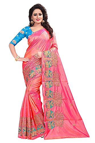 Nine Street Store Cotton Silk Saree With Blouse Piece (sari-hathi04511_Pink_saree ( 6.50 mtr with blouse ))