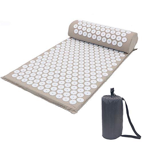 Guoyajf Akupressurmassage Rückenmatte und Nackenkissen | Bio Eco Cotton Akupunkturmatten | Massagegerät Schlaf Set für Nervenschmerzen | Ischias Relief - Ganzkörper | Hypoallergen,Gray - Ischias Relief