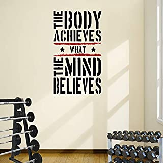 DesignDivil The Body Achieves Gym Motivational Wall Decal Quote 5 colour options (black text/red stripes, 57cm w x 1mtr h)