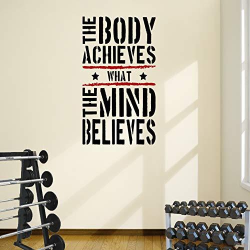 DesignDivil Der Body erreicht Gym Motivational Wand Aufkleber Zitat 5Farbe Optionen, Black Text/red Stripes