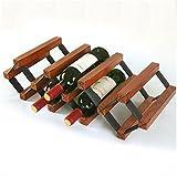 WUTONGModerne Einfache Stahl-Holz-Kombination Lagerung Nussbaum Farbe 7 Flaschen Wine Rack 57 * 23.5 * 16cm Wohnzimmer Bar