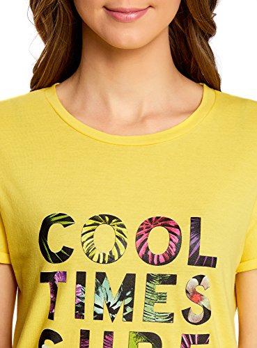 oodji Collection Damen Lässiges T-Shirt mit Schriftzug Gelb (5119P)