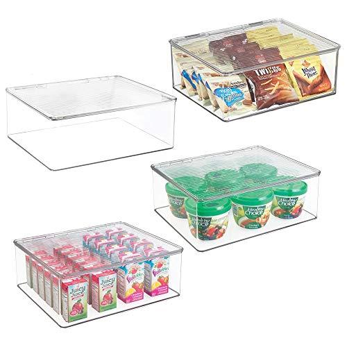 mDesign Juego de 4 fiambreras con tapa para el frigorífico - Cajas de plástico para guardar alimentos - Organizador de nevera para tarritos infantiles y otros productos - transparente