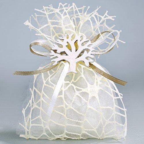 Bomboniera matrimonio comunione cresima confettata completa albero della vita bianco