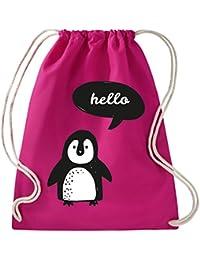 Shirtstown Premium gymsac I Love Pingüino, fucsia
