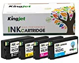 Kingjet Remanufactured 953XL Ink Cartridges Replacements for HP 953 XL Compatible for HP OfficeJet Pro 7740 8210 8710 8715 8720 8725 8728 8730 8740 (Black, Cyan, Magenta, Yellow)