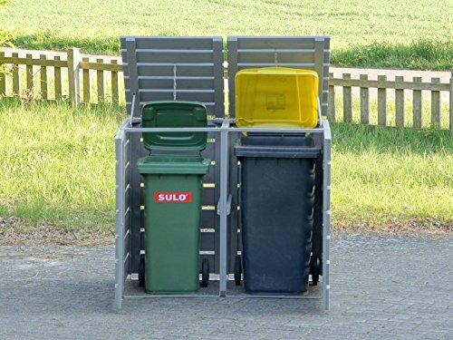 2er Mülltonnenbox / Mülltonnenverkleidung 240 L Holz, Transparent Geölt Weiß - 6