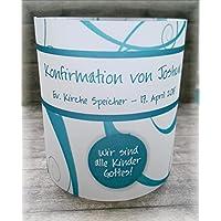 4er Set Tischlicht Tischlichter Kommunion Konfirmation Jugendweihe Taufe Ornamente Tischdeko personalisierbar petrol dunkeltürkis