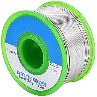 Tuloka Hilo de Estaño para Soldar sin Plomo 100g 0,6mm con Núcleo de Resina, Sn99% Ag0.3% Cu0.7%