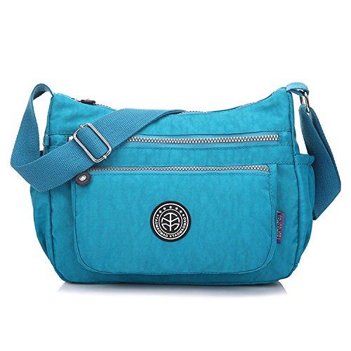 Outreo Kuriertasche Damen Umhängetasche Designer Schultertasche Mode Taschen Leichter Messenger Bag Reisetasche Lässige Wasserdicht Sporttasche Blau 2