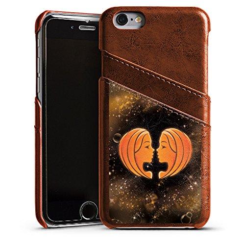 Apple iPhone 6 Housse Étui Silicone Coque Protection Signes du zodiaque Jumeaux Gémeaux Étui en cuir marron