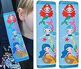 2x HECKBO Auto Kinder Gurtschutz Sicherheitsgurt Schulterpolster Schulterkissen Autositze Fahrrad Fahrradsitz Gurtpolster mit Meerjungfrau