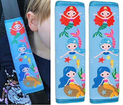 2x HECKBO® Auto Kinder Gurtschutz Sicherheitsgurt Schulterpolster Schulterkissen Autositze Fahrrad Fahrradsitz Gurtpolster mit Meerjungfrau