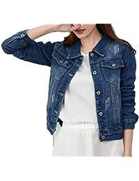a5764704ad7b Bevalsa Veste en Jeans Femme Casual Slim Fit Denim Veste Manches Longues  Manteau en Jean
