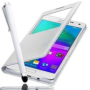 *** COFFRET A&D® *** Etui SAMSUNG GALAXY CORE PRIME SM-G360 housse coque de protection blanche Flip cover avec fenêtre SVIEW FOLIO pochette portefeuille + STYLET BLANC pour Smartphone Core prime ve value edition SM G360 G360H G360F dual sim SM-G360F G 360 4G LTE sm-g361f g361 sm g361f 361