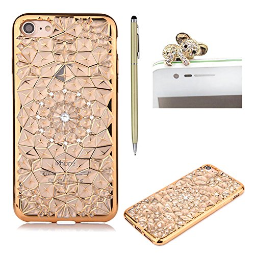 SKYXD iphone 7 Hülle Glitzer Strass Kristall Blumen Design Zurück mit Überzug Farbig Rahmen Schutzhülle Weiche TPU Silikon Handy Tasche [Handyanhänger + Eingabestifte] Etui für Apple iphone 7 Case Shine Crystal Flower Back Cover with Gold Plating Bumper - Gold