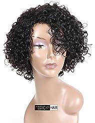 Perruque bouclée en cheveux naturels Morichy pour femme - Coupe courte - Véritables cheveux brésiliens non traités - Bonnet avec front en dentelle - Noir