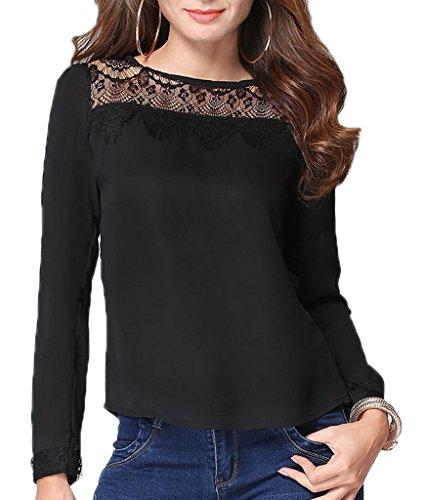 Bigood Femme Chemise Dentelle Chiffon Tops Manches Longue T-shirt Moulante Noir
