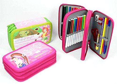 Set scuola asilo: astuccio portamatite completo; 3 scomparti, con matite righello appunta lapis piccole forbici